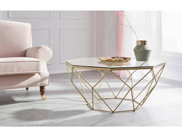 Guido Maria Kretschmer Home&Living Couchtisch »Caen«, aus Glas und Metall in geometrischen Formen, Breite 95 cm, goldfarben, Tischplatte: Glas