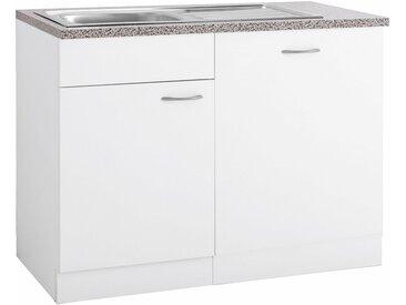 wiho Küchen Spülenschrank »Kiel« 110 cm breit, inkl. Tür/Griff/Sockel für Geschirrspüler, weiß, Weiß/Weiß