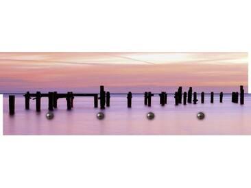 Artland Wandgarderobe »Becky Stares: Sonnenaufgang über dem Pier«, rosa, 30 x 90 x 2,8 cm, Pink