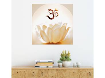 Posterlounge Wandbild - Christine Ganz »Lotus mit Om«, natur, Holzbild, 120 x 120 cm, naturfarben