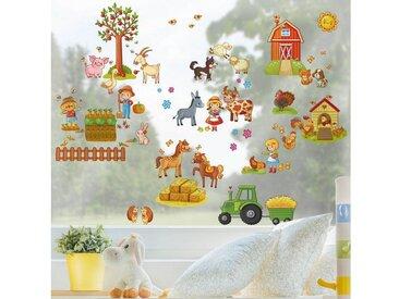 Bilderwelten Fenstersticker »Großes Bauernhof-Set«, bunt, Farbig
