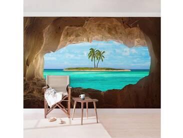Bilderwelten Vliestapete Quer »Blick ins Paradies«, blau, 290x432cm, Blau