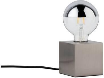 Paulmann LED Tischleuchte »Kura Eisen gebürstet, max. 20W E27«, 1-flammig, silberfarben, 1 -flg. /, edelstahlfarben-silberfarben