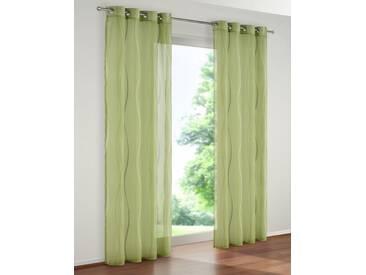 my home Gardine »Dimona«, Ösen (2 Stück), grün, Ösen, transparent, grün