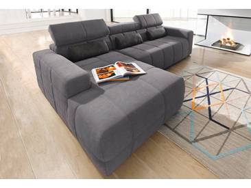 DOMO collection Ecksofa, grau, 289 cm, Recamiere links, dunkelgrau