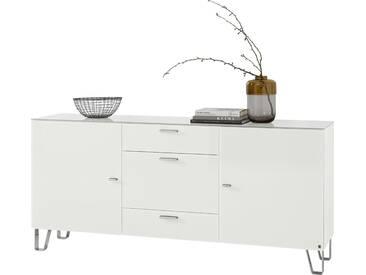 LEONARDO living Sideboard »CUBE« auf Designfüßen, mit 2 Türen und 3 Schubladen, Breite 189 cm, weiß, weiß
