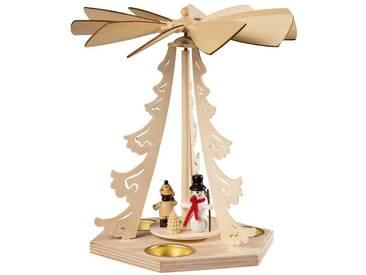 SAICO Original Tischpyramide Winterkind mit Schneemann für 3 Teelichte