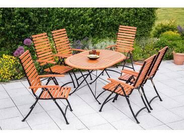 MERXX Gartenmöbelset »Schlossgarten«, 7-tlg., 6 Klappsessel, Tisch, Stahl/Eukalyptus, verstellbar, braun, braun