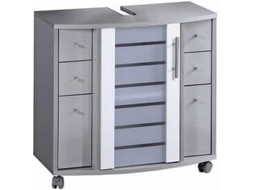 Schildmeyer Waschbeckenunterschrank, »Nikosia«, mit Glastür, silberfarben, silber glanz/weiß