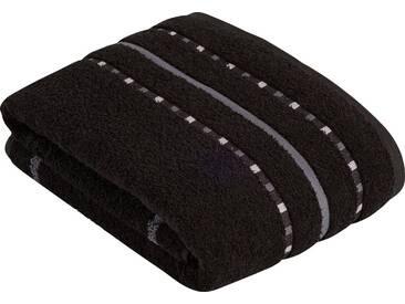 Vossen Saunatuch »Atletico«, mit aufwändiger Bordüre, schwarz, Wirkfrottee, schwarz