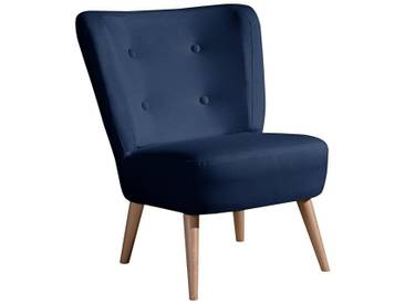 Max Winzer® Stuhlsessel im Retro-Design »Nikki«, mit Holzbeinen, blau, dunkelblau