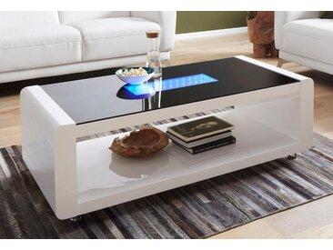 Homexperts Couchtisch, mit 3D-LED-Beleuchtung, auf Rollen, weiß, weiß/schwarz