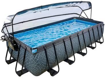 EXIT Frame Pool 5,4x2,5x1m mit Sonnendach, grau, grau, grau