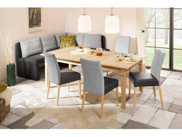 Home affaire Eckbank »Nin«, in verschiedenen Farben und Qualitäten, grau, Groß: langer Schenkel links, Kombination 1 (Kunstleder und Grobstruktur)