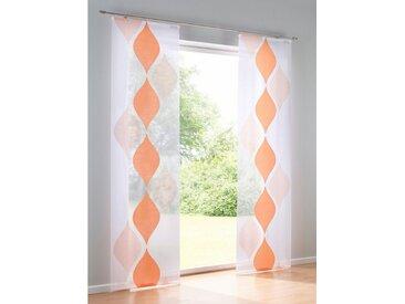 heine home Schiebevorhang gemustert, orange, Klettschiene, apricot