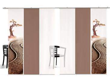 emotion textiles Schiebegardine »Bonsai farbig«, Klettband (6 Stück), inkl. Befestigungszubehör, grün, Klettband, halbtransparent, grün-weiß