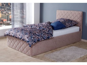 Westfalia Schlafkomfort Polsterbett, natur, ohne Matratze, nur Bettgestell, Seitenhöhe 33 cm, sand