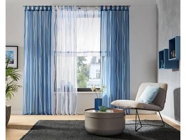 my home Gardine »Dimona«, Schlaufen (2 Stück), blau, Schlaufen, transparent, weiß-blau