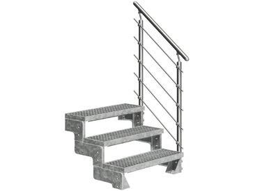 Dolle DOLLE Außentreppe »Gardentop«, für Geschosshöhen bis 66 cm, Gitterroststufen 100 cm, silberfarben, gerade, silberfarben