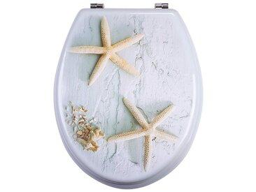 MSV WC-Sitz »SEESTERNE«, MDF-Kern, grau/beige