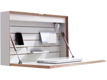 Müller hängender Sekretär »FLATBOX«, weiß, Leuchtstoffröhre / Steckdose, weiß mit Birkenkante