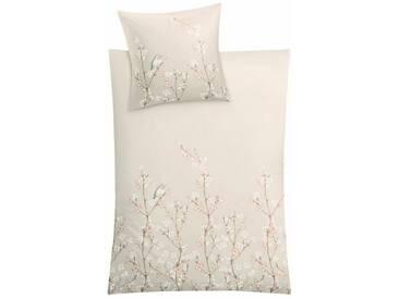 Kleine Wolke Bettwäsche »Miramonte«, mit zarten Blumendruck, natur, 1x 155x220 cm, Mako-Satin, sandbeige