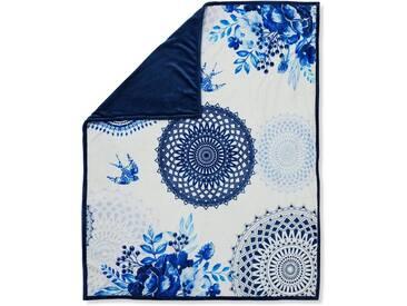 hip Wohndecke »Grande«, mit Mandala und Spatzen, blau, Kunstfaser, blau