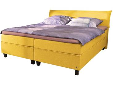 Tom Tailor TOM TAILOR Boxspringbett »COLOR BOX«, Luxus-Microfaser, ohne Print, Überlänge 220 cm, gelb, 2 Matratzen H2, gold-colored TGU 5