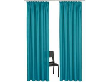 Home affaire Vorhang »Parry«, Kräuselband (2 Stück), blau, Kräuselband, blickdicht, aquablau