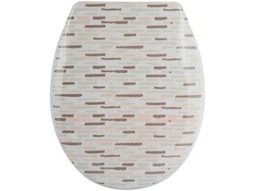 MSV WC-Sitz »BRIQUE BEIGE«, Duroplast, mit Softclose, grau