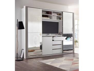 Schwebetürenschrank mit TV-Fach und Spiegel, weiß, Breite 270 cm, 4-türig, Weiß/Spiegel