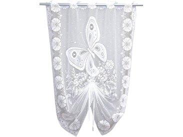 VHG Scheibengardine »Schmetterling«, Durchzuglöcher (1 Stück), weiß, Durchzuglöcher, halbtransparent, weiß