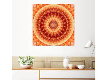 Posterlounge Wandbild - Christine Bässler »Mandala Lebensfreude 2«, orange, Alu-Dibond, 120 x 120 cm, orange