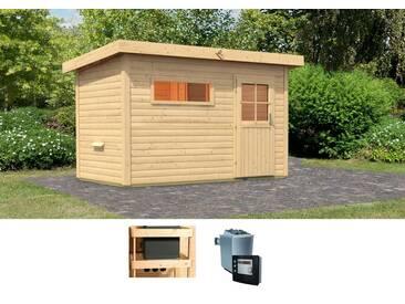 Karibu KARIBU Saunahaus »Uwe 1«, 337/196/228 cm, 9-kW-Ofen mit ext. Steuerung, natur, 9-kW-Ofen mit externer Steuerung, natur