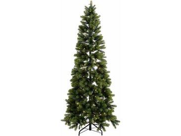 Künstlicher Weihnachtsbaum, in schlanker Form, mit LED-Lichterkette, grün, 150 cm, grün
