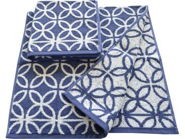 Dyckhoff Handtücher »Retro«, mit retro Blumen Muster, blau, Walkfrottee, blau