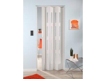 FORTE Kunststoff-Falttür »Luciana«, eiche weiß, mit 4 Fenstern in Riffelstruktur, weiß, 88.5 cm, eiche weiß