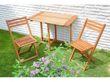 MERXX Gartenmöbelset »Porto«, 3tlg., 2 Sessel, Tisch, klappbar, Eukalyptusholz, natur, natur