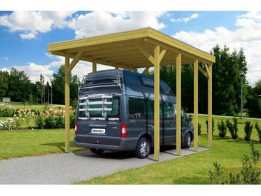 Skanholz SKANHOLZ Einzelcarport »Friesland«, BxT: 397x555 cm, für Caravan, grün, 469 cm, grün