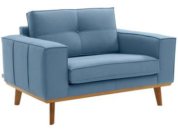 Guido Maria Kretschmer Home&Living GMK Home & Living Sessel »Janis«, Leinen oder NaturLEDER mit Eichen-Füßen und Außennaht, blau, blau