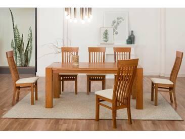 Premium collection by Home affaire Essgruppe bestehend aus dem Tisch »Dominik« und den Stühlen »Amore« (5 tlg.), natur, Eiche/ beige