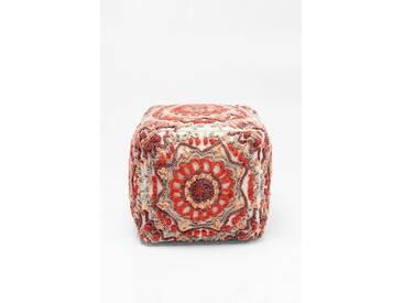 KARE Design Sitzwürfel »Arabian Flower Reddish«, rot, Maße (B/T/H): 50/50/50 cm, rot