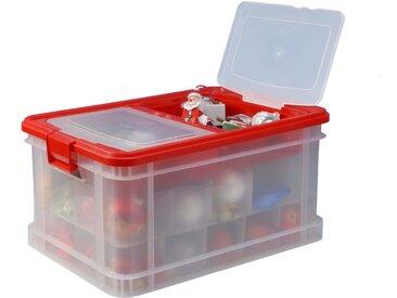 Gies Aufbewahrungsbox »X-Mas Family«, 45 Liter, 52x35,5x26 cm, transparent-rot