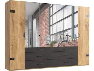 Fresh To Go Kleiderschrank »Detroit«, natur, Breite 300 cm, 6-türig, Höhe 218 cm, Raw Steel+Metall