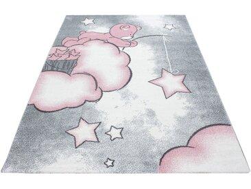 Ayyildiz Kinderteppich »Kids 580«, rechteckig, Höhe 12 mm, Teddybär, Sterne Design, Kurzflor, rosa, pink-grau