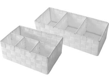 Franz Müller Flechtwaren Regalkorb (Set, 2 Stück), aus Nylongeflecht, weiß, 3525,5x1517,5x10 cm, weiß