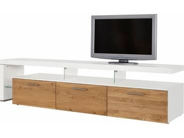 NETFURN BY GWINNER Lowboard mit TV-Brücke »SOLANO«, Lack weiß, mit 3 Schubladen, Breite 228 cm, natur, TV-Bank links, Ohne Beleuchtung