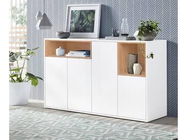 Tecnos Sideboard »Colore«, Breite 149 cm, weiß, weiß Hochglanz/eichefarben natur