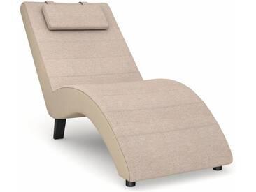 Max Winzer® build-a-chair Relaxliege »Nova«, inklusive Nackenkissen, zum Selbstgestalten, natur, Korpus: Kunstleder beige, Flachgewebe beige