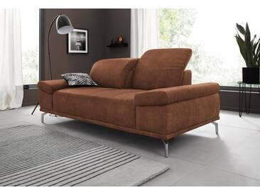 Places of Style 2-Sitzer Sofa »Caluna« mit Sitztiefen- und Kopfteilverstellung, braun, cognac